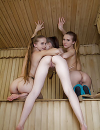 Three gorgeous, naked, sweaty, wet brunette teens posing in a sauna