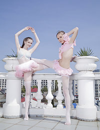 Two ballerina beauties flashing their pussies while posing together
