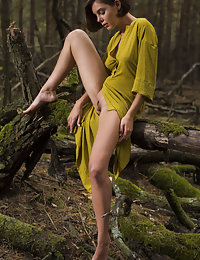 Dress-wearing short-haired brunette exploring nature in the nude