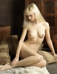 Cute and seductive blonde gal Jane A takes her white gown off and teases with her hot twat.