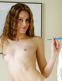 Artistic teen babe Jassie A takes off her dress in front of canvas and shows her tight booty.