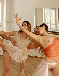 Jasmine A: Jasmine A and Lea A got horny during ballet practice so they decided to take their panties off.