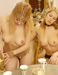 Jd and Nikita B invited their lusty blonde lesbo friend for a cup of tea and lesbo sex.