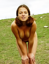 Outdoor nudity is the best way for sensual Yvonne to get rid of her tanlines and to have fun.