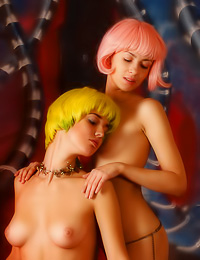 Hot teen dykes Hilary A and Lida A put on wigs and black thongs and then pose for the camera.