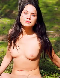 Anastasya B: Big breasted brunette vixen Anastasya B poses fully nude and completely alone in the woods.