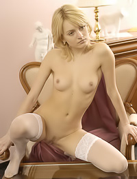 Pale blond gal with small and firm tits you see here is Valya F, a sensual model for MetArt.