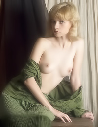 Round breasted blonde cuttie Jane A strips her sexy green gown and shows her attractive body.