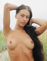 Beautiful and sexy brunette babe Crystal B takes her lingerie off on the sand and shows off.