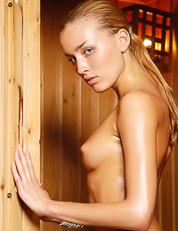 Liza B is totally wet today, and there is nothing she enjoys doing more than being in a sauna.