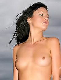 Jessica C: Lusty brunette Jessica C walks down the beach fully nude and teases with her fully shaved twat.