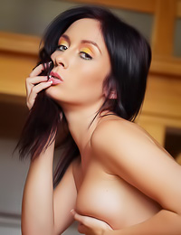 Night A takes all of her clothes in the kitchen and shows us her every inch of her hot body.