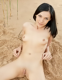 Lily J takes all of her clothes in the sand and then plays with her deep shaved hungry muff.