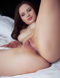 Tempting brunette tart poses naked on a bed flaunting her natural tits and her shaved pussy.