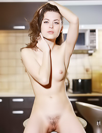 Amelie B: Glamorous brunette hottie poses fully naked revealing her big tits and her hairy pussy.