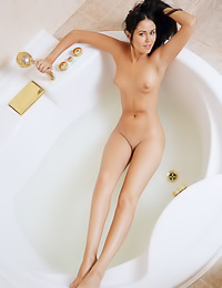 Mesmeric dark haired chick poses nude in a bathtub showing her small tits and her shaved cunt.