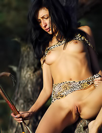 Tanuha A: Brunette lady Tanuha A slowly removes her slutty dress and poses like a wild amazon girl.