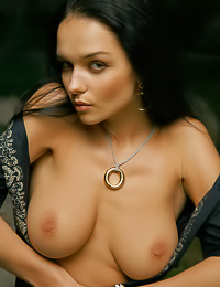 Big breasted brunette chick Jenya D takes off her slutty dress and shows her wet muff.
