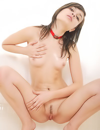 Small breasted brunette chick Tanita A strips for the camera and shows her trimmed cunny.