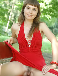 Viki B: Attractive teen cuttie Viki B takes off her red elegant dress outdoors and shows off her body.