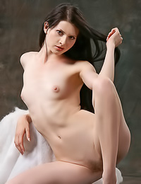 Vika E: Passionate brunette vixen Vika E takes her clothes off and shows us her tight round booty.