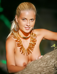 Katya V: Busty blonde gal Katya V takes off her clothes and teases us with her round perky boobs.