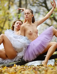Horny teen dykes Uliya E and Vera C take off their clothes and make out wildly in the forest.