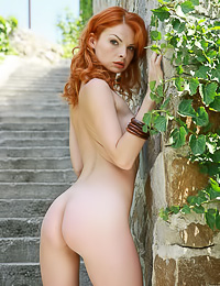 Natalia A: Beautiful seductive redhead model Natalia A takes off her lingerie and shows her hot body.