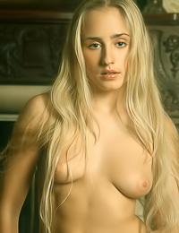 Lusty big breasted blonde Vera E takes off her lingerie and shows her juicy hungry fanny.