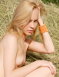 Beautiful blonde chick Jade B relaxes on the hay and teases us with her long sexy legs.