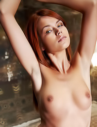 Wild redhead teen babe Kami A takes off her thongs and shows us her hairy wet beaver.