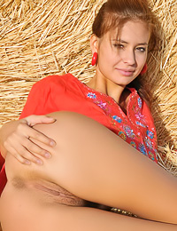 Foxy country babe Irina J takes her organge top off in the hay and shows her trimmed pussy.
