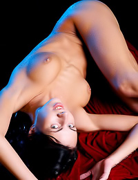 Busty brunette gal Sammy A takes off her clothes and shows us her hungry wet meat hole.