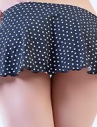 Cute and foxy Yuta A strips her slutty polka mini dress and shows us her shaved cunny.