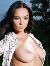 Big breasted brunette Jenya D has large hooters and a trimmed tunnel of love ready for sex.