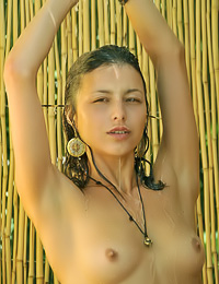 Lovely brunette vixen Divina A takes a shower outdoors on a hot day and plays with her tits.