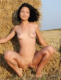 Sheila C: Cute and sexy brunette gal Sheila C strips in the hay and shows her round big milk cans.